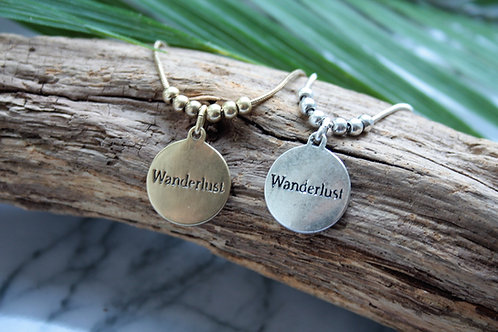 Double sided Wanderlust/Compass short necklace in Gold or Silver colour