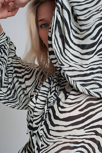 RELAXED SHIRT WITH VOLUME SLEEVES IN ZEBRA i