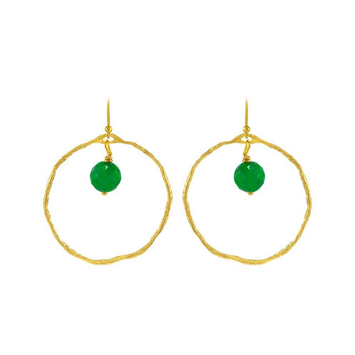 Organic hoop earrings (with Green agate stone)