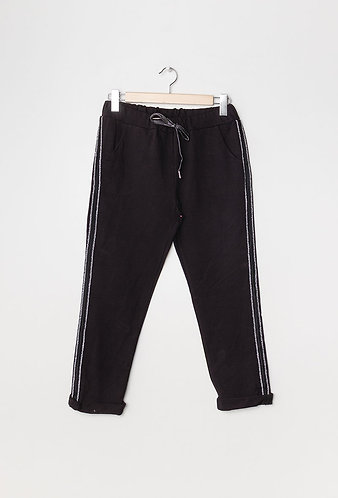 Black Joggers with side stripe