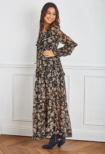 Robe longue bohème volantée in imprimé fleur vaporeuse