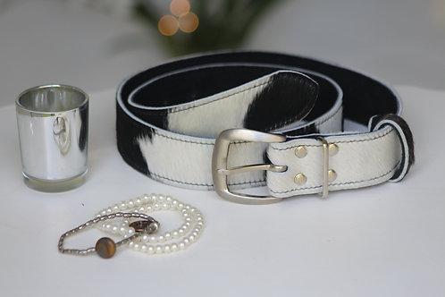 Black & White cowhide belt