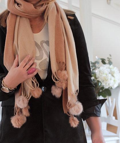 pom pom luxury scarf
