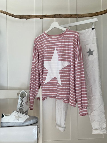 oversized baggy stripe star top in PINK