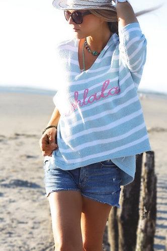 Oohlala hooded stripe knit in (baby blue)