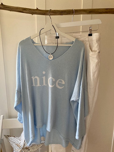 Nice slogan soft knit in Baby blue