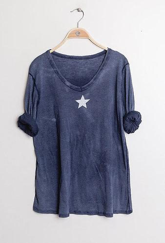 Navy Star Cotton Tee