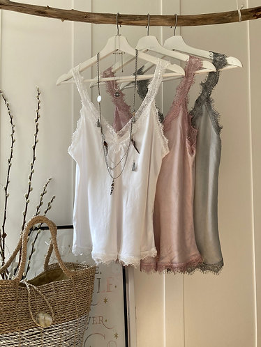 silky cami tops with lace in five colours