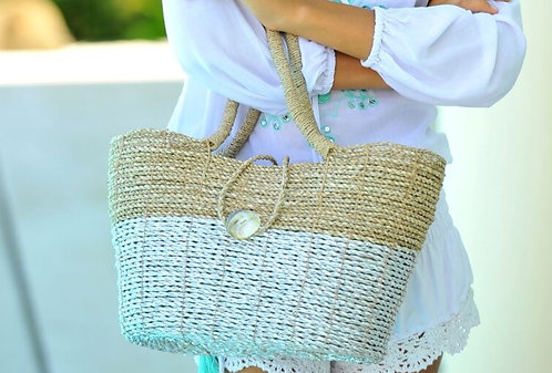 Basket Hand Bag (Natural/Silver)in Three sizes £42.99-£34.99