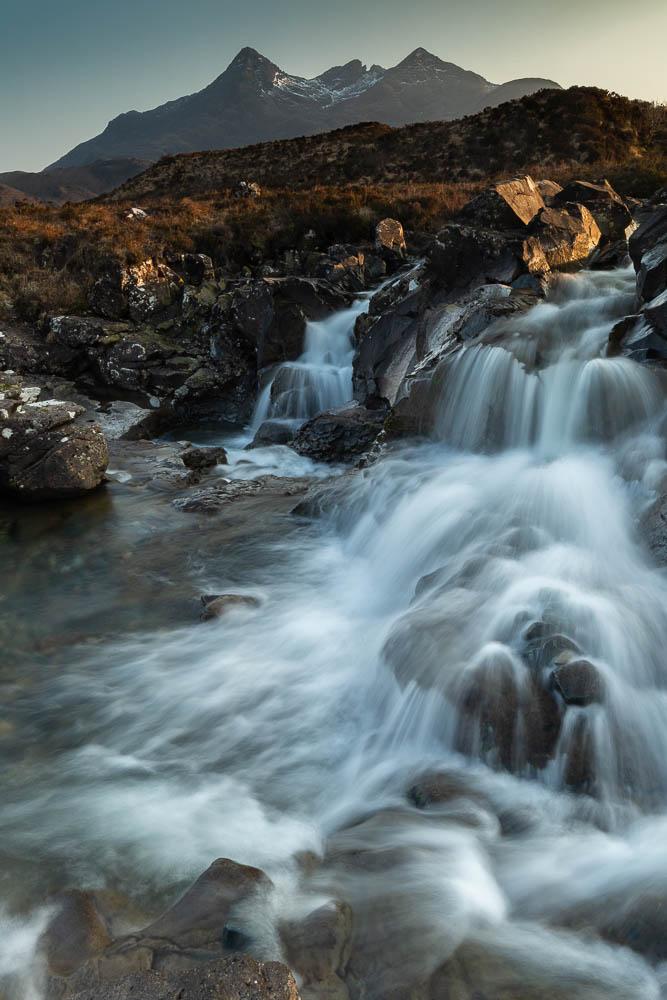 Sunset, waterfall, Sgurr nan Gillean