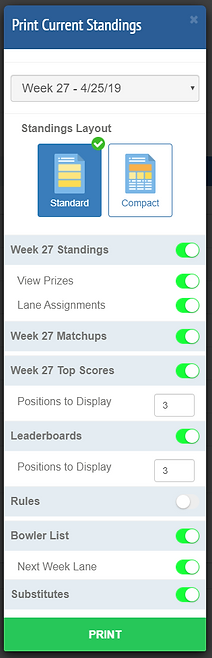 Manage Leagues - Standings Print Modal.P