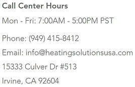 heatingsolutionsusa call center hours co