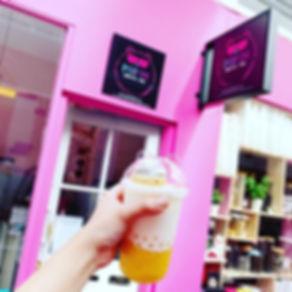 Mango creamy milk tea with Handmade maca