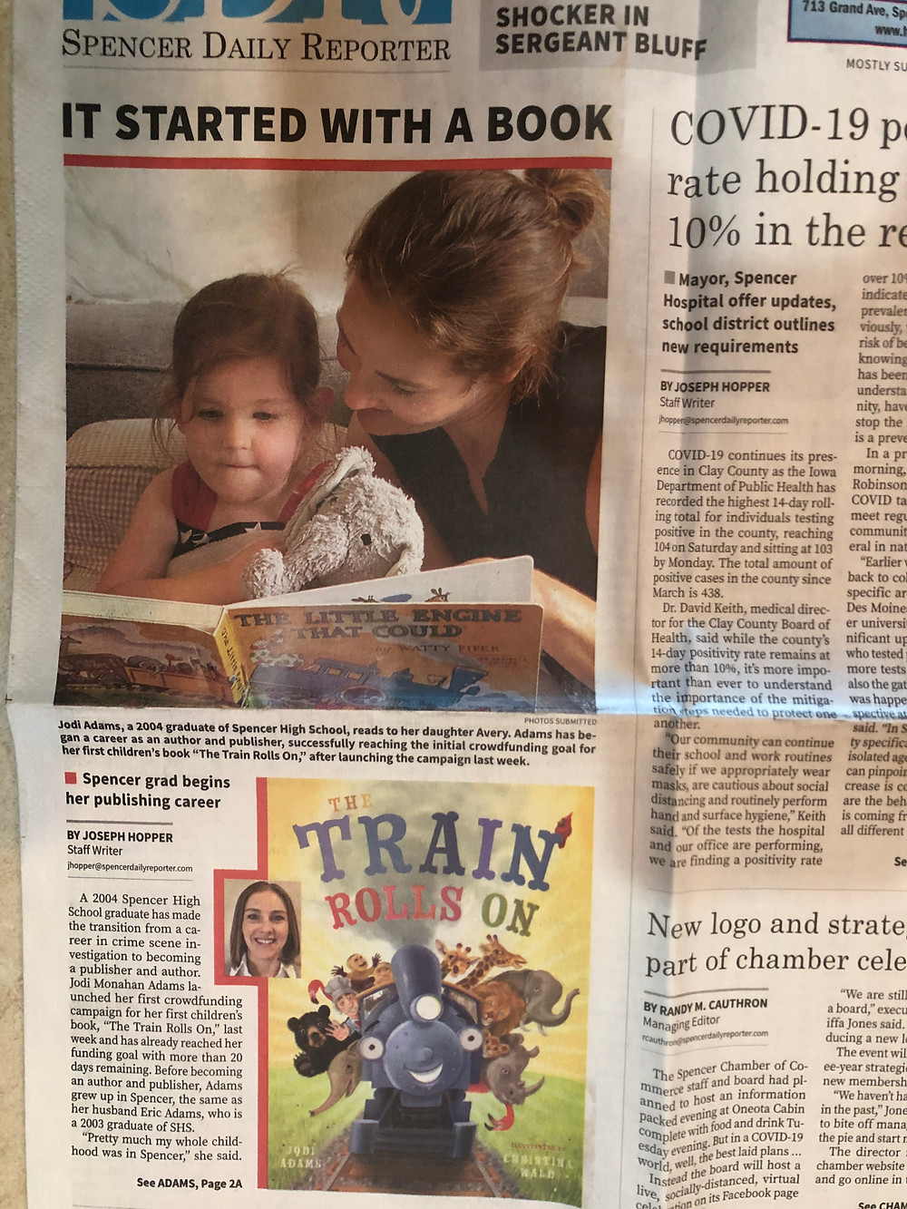 The Train Rolls On Article in Spencer Daily Reporter