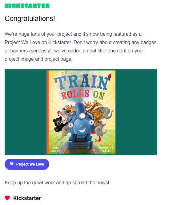 "The Train Rolls On Kickstarter Campaign Receives Coveted ""Project We Love"" Designation"