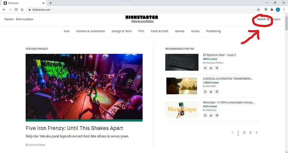 Kickstarter Website's Search Bar Location