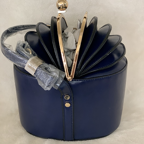 Blue Bag with Gold Handles