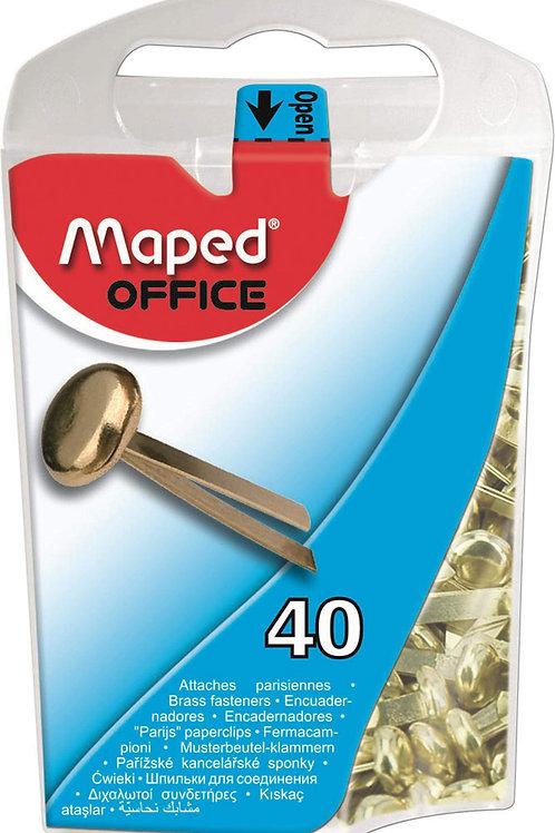 Maped Round Head Paper Fasteners Brass, 5/8