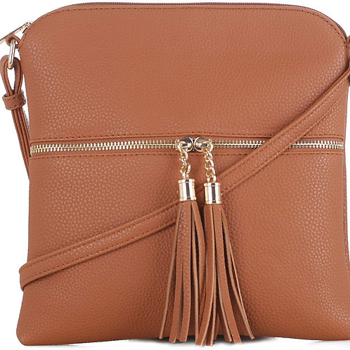 DELUXITY Women's Fashion Trendsetter Long Lightweight Crossbody Bag with Tassels