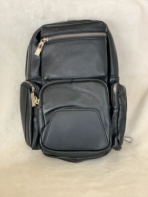 Faux Leather Zip Top Closure Front and Side Zip Pocket Adjustable Shoulder Strap