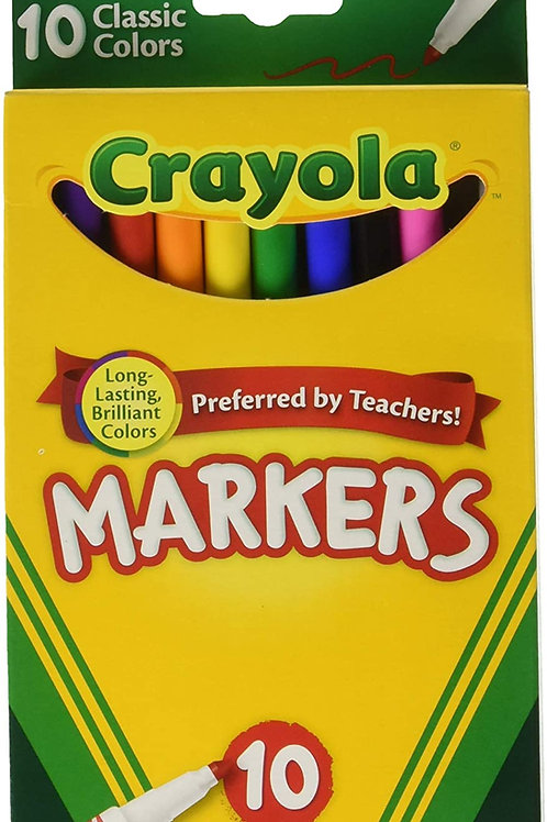 Crayola Classic Fine Line Markers Assorted Colors 10 Count