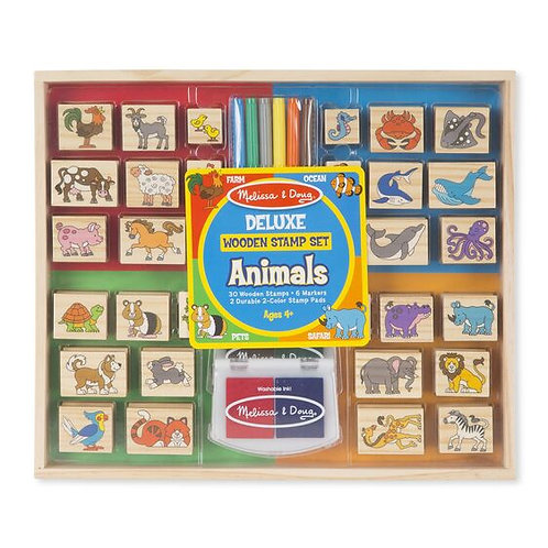 Melissa & Doug Deluxe Wooden Stamp Set, Animal Stamps