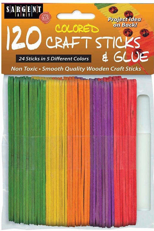 Sargent Art 120-Count Colored Craft Sticks with Glue