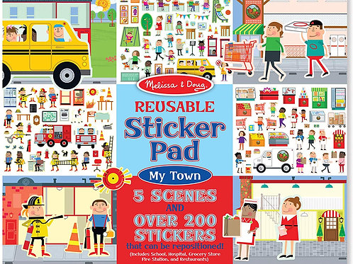 Melissa & Doug Reusable Sticker Pad - My Town, Extra Large Sticker Activity Pad