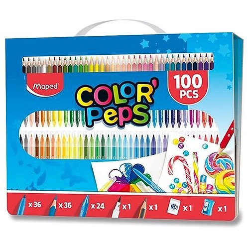 Set of Art Supplies Maped Color´Peps in a Case, 100 pcs