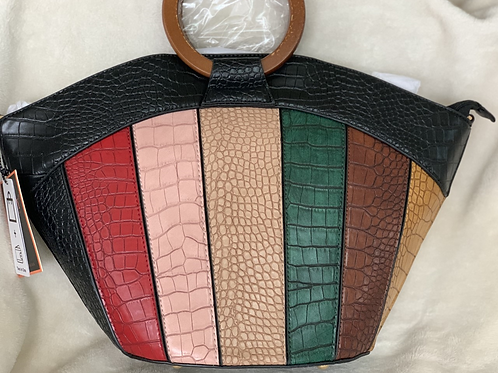 Black multi color curve bag