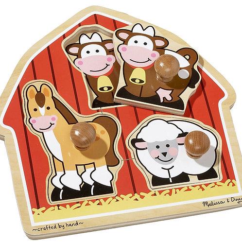Melissa & Doug Barnyard Animals Jumbo Knob Wooden Puzzle