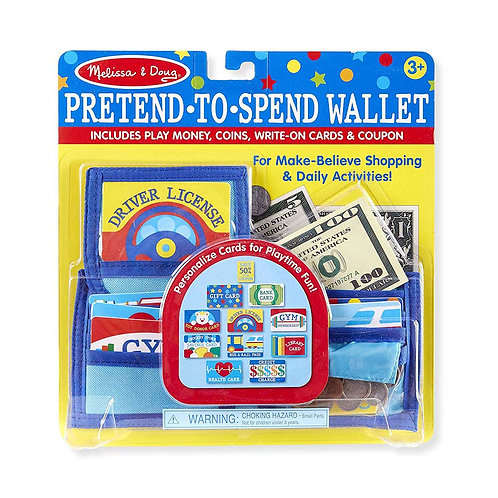 Melissa & Doug Pretend-to-Spend Wallet (Pretend Shopping Toy, 40+ Pieces)