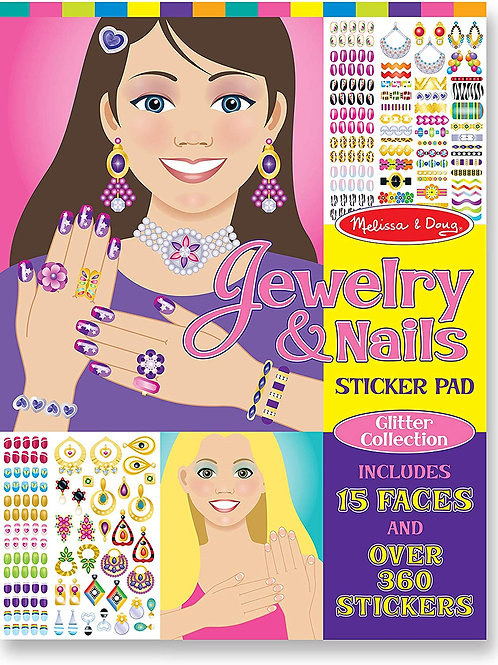 Melissa & Doug Jewelry and Nails Glitter Sticker Pad - 360+ Stickers, 15 Faces