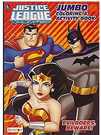 Justice League Unlimited Jumbo Coloring & Activity Book Evildoers Beware, Multic