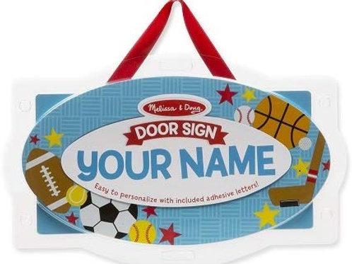 Melissa & Doug Wooden Door Plaque: Sports - Personalized Name Sign