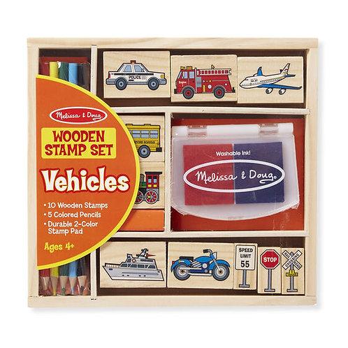 Melissa & Doug Vehicles: Wooden Stamp Set