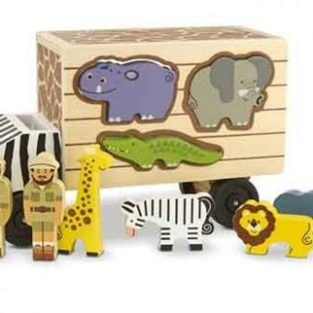 Melissa & Doug Animal Rescue Shape-Sorting Truck (Wooden Toy With 7 Animals and