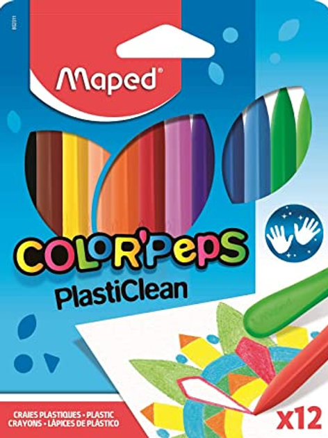 Maped Color'Peps Plasticlean Plastic Crayons, Assorted Colors, Pack of 12