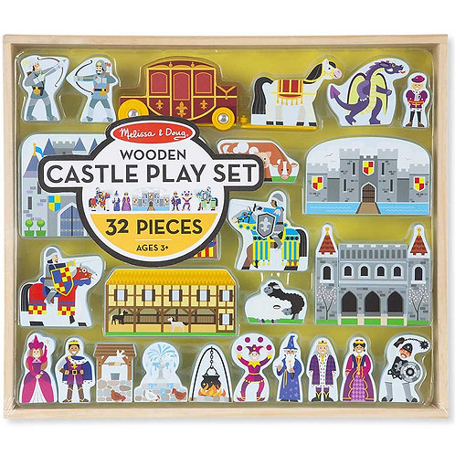 Melissa & Doug Wooden Castle and Kingdom Play Set (32 Blocks) Multicolor