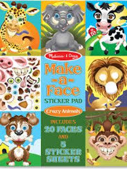 Melissa & Doug Make-a-Face Sticker Pad - Crazy Animals, 20 Faces, 5 Sticker Shee