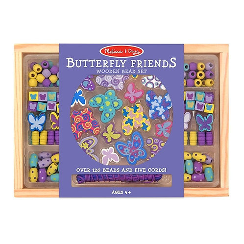 Melissa & Doug Butterfly Friends Wooden Bead Set with 150+ Beads for Jewelry-Mak
