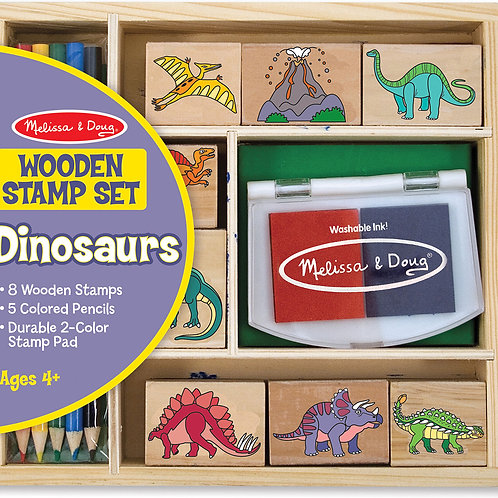 Melissa & Doug Wooden Stamp Set - Dinosaurs