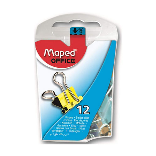 Maped Mini Binder Clips in Dispenser Case, Assorted Colors, Pack of 12