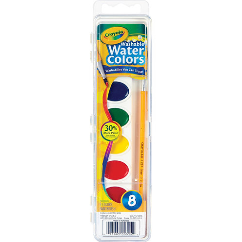 Crayola Washable Watercolor Paint Set, Assorted Colors, Child, 8 Count