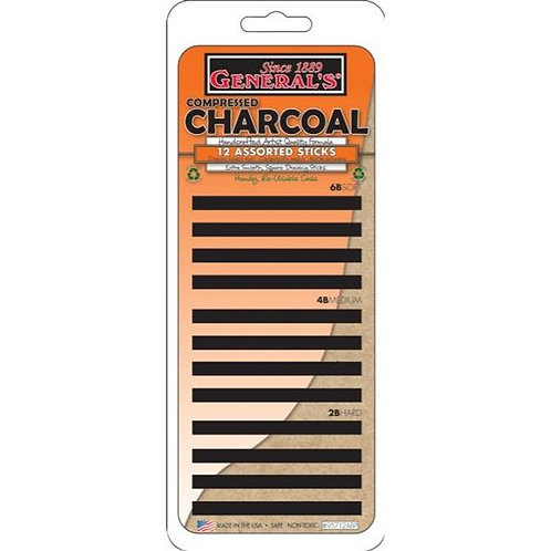 Compressed Charcoal Stick Set - 12 Pieces