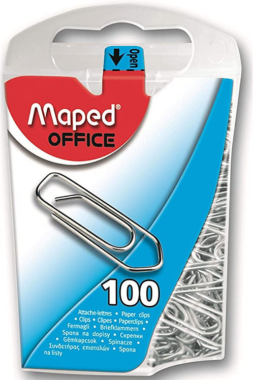 Maped Steel Paper Clips in Dispenser Case, Assorted Colors, Pack of 100