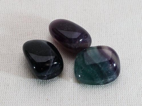 Fluorite Tumblestones - 50gm with blue velvet pouch