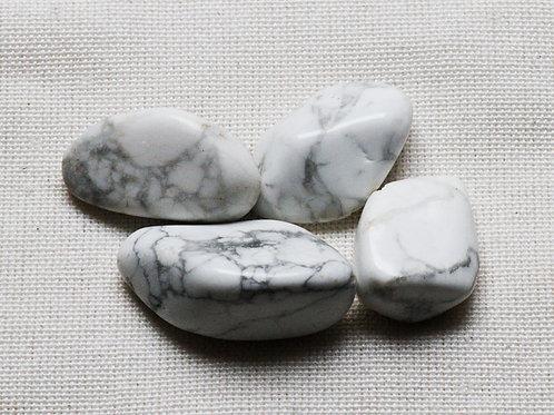 White Howlite Tumblestones - 50gm with blue velvet pouch