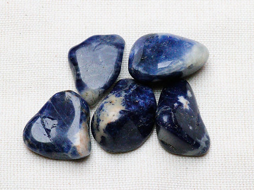 Sodalite Tumblestones - 50gm with blue velvet pouch