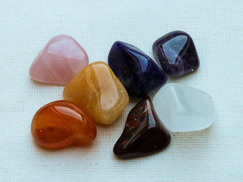 Chakra Mix Tumblestones with blue velvet pouch